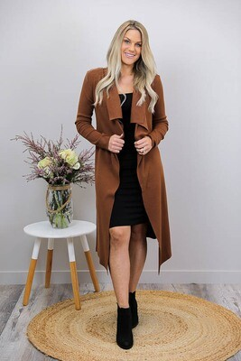 Casey Collar Knit Long Cardigan - Chocolate