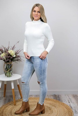 Back To Basics Rib Jumper - Ivory