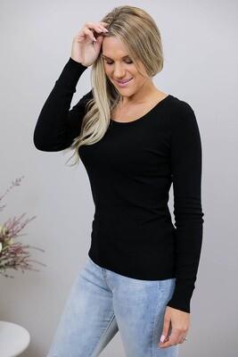 Lisa Basic Scoop Neck Jumper - Black