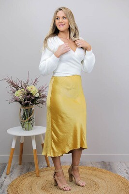 Sleek Bias Midi Skirt - Gold