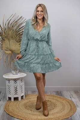 Isla Crossover Frill Miniish Dress - Sage/White Frond