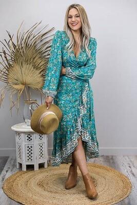 Breezy L/S Wrap Midi Dress - Jade/Tan Fleur