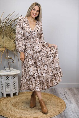 Chateau L/S BoHo Maxi Dress - Latte/Leo Bloom