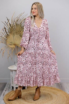 Chateau L/S BoHo Maxi Dress - Blush/Leo Bloom
