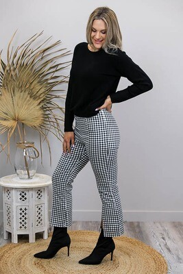 Tess Fitted Split Flare Pants - Black/White Gingham