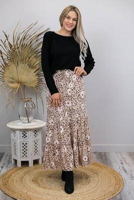 Gypsy Rose BoHo Maxi Skirt - Latte/Leo Bloom