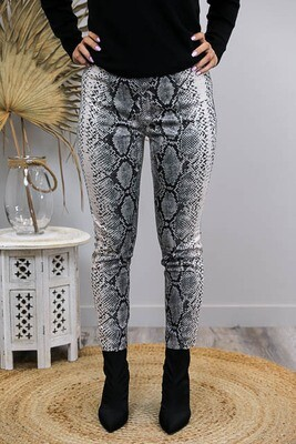 Jilleroo Fitted Pants - Latte Python