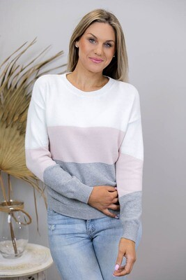 Logan Jumper - Ivory/Blush/Gray