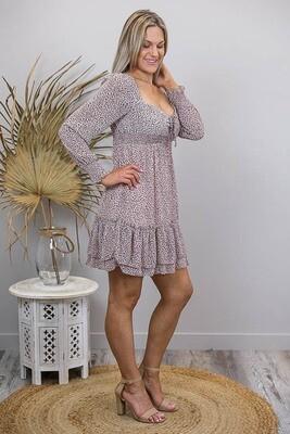 Polly Peasant Shirred Miniish Dress - Blush/Choc Leo