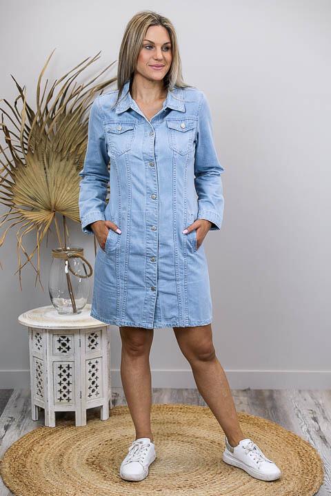 Bubbles Long Denim Jacket/Dress - Light Denim