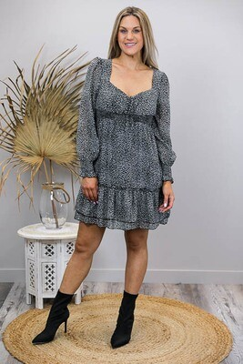 Polly Peasant Shirred Miniish Dress - Black/White Leo