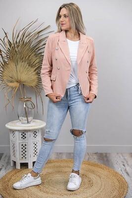 Mambo Military Denim Jacket - Antique Pink