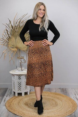Ballard Bias Midi Skirt - Tan/Black Leo