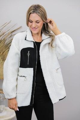 Mountain Top Faux Sheep Skin Jacket - Ivory