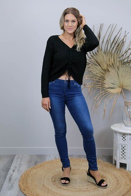 Refuge Comfy Soft Hi Waist Jeans - Dark Denim