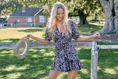 Claire Bear Tie Front Mini Dress - Navy/Blush Fleur