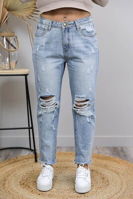 Byron Rip Fray Boyfriend Jeans - Light Denim