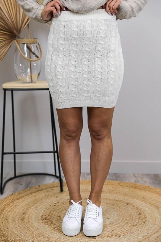 Celeste Cable Knit Midi Skirt - Latte