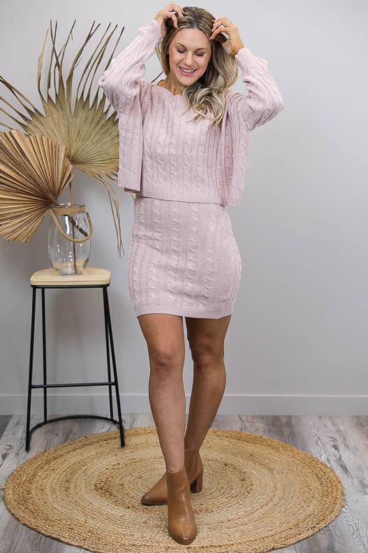 Celeste Cable Knit Midi Skirt - Blush