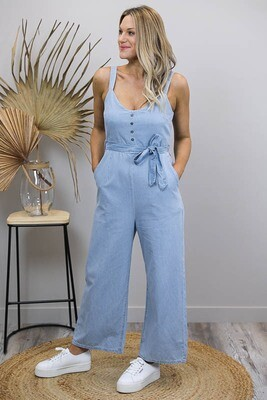 Charmed Chambray Overalls - Light Denim