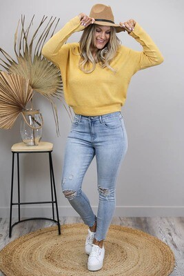 Veronica V Light Knit Jumper - Egg Yolk