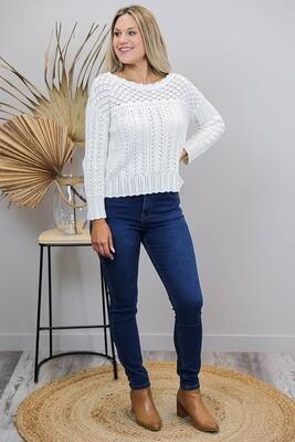 Lavish Detail Knit Jumper/Top - Ivory
