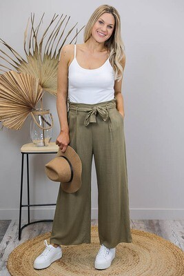 Back To Basics Linen Dress Pants - Khaki