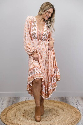 Chateau L/S BoHo Maxi Dress - Apricot/Tan Bloom