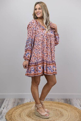 Challet L/S BoHo Mini Dress - Peach/Blue Leaf