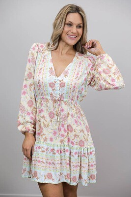 Chateau L/S BoHo Mini Dress - White/Pastel Floral