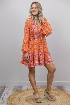 Chateau L/S BoHo Mini Dress - Orange/White Fleur