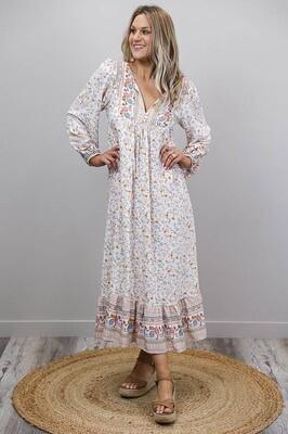 Challet L/S BoHo Midi Dress - Ivory/Blue Fleur
