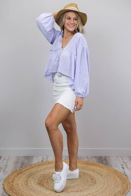 Ladybird Raw Edge Boho Top - Lilac