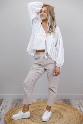 Ladybird Raw Edge Boho Top - White