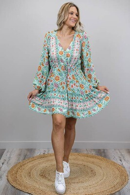 Chateau L/S BoHo Mini Dress - Mint/Autumn Floral