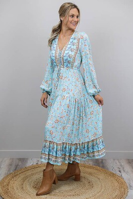 Chateau L/S BoHo Maxi Dress - Blue/Tan Bloom