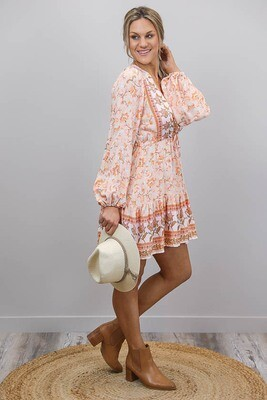 Chateau L/S BoHo Mini Dress - Apricot/Tan Bloom