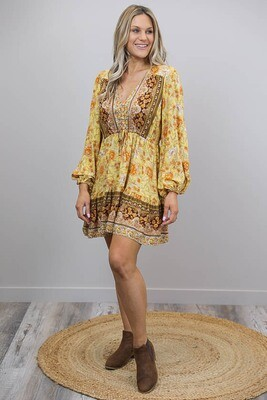 Chateau L/S BoHo Mini Dress - Mustard/Rust Bloom