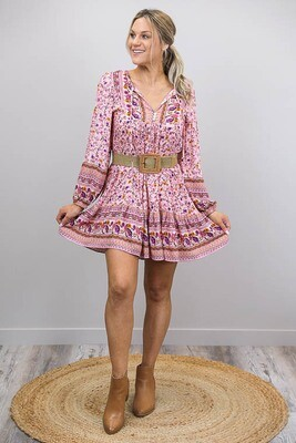 Challet L/S BoHo Mini Dress - Blush/Multi Fleur