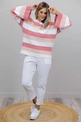 Strawberry Cream Flare Sleeve Jumper - Blush Multi