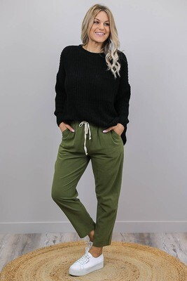 Chenille Oversize L/S Knit Jumper - Black