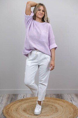 Chenille Oversize S/S Knit Jumper - Baby Mauve