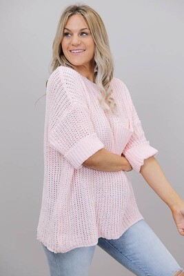 Chenille Oversize S/S Knit Jumper - Baby Pink