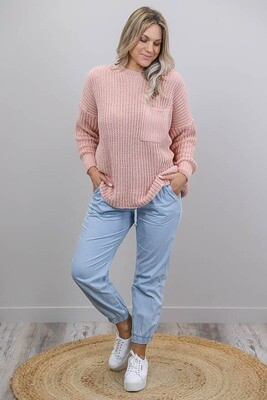 Chenille Oversize L/S Knit Jumper - Blush