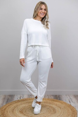 Lattice Waffle Lounge Pants - Ivory