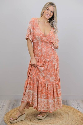 Veronika Love Maxi Dress - Peach Multi