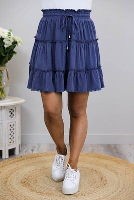 Buttercup Frill Trim Mini Skirt - Dusty Navy Linen Blend