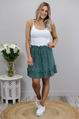 Bentlee Tassel Frill Mini Skirt - Dusty Jade Linen Blend