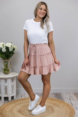 Buttercup Frill Trim Mini Skirt - Dusty Blush Linen Blend