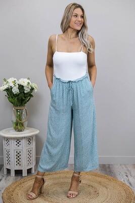 Buffy Frill Top Pants - Light Jade/White Mini Frond